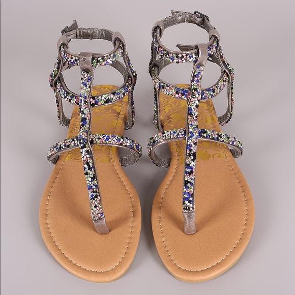 b1a0c72dd1cbce Pewter Mermaid Rhinestone Gladiator Sandals